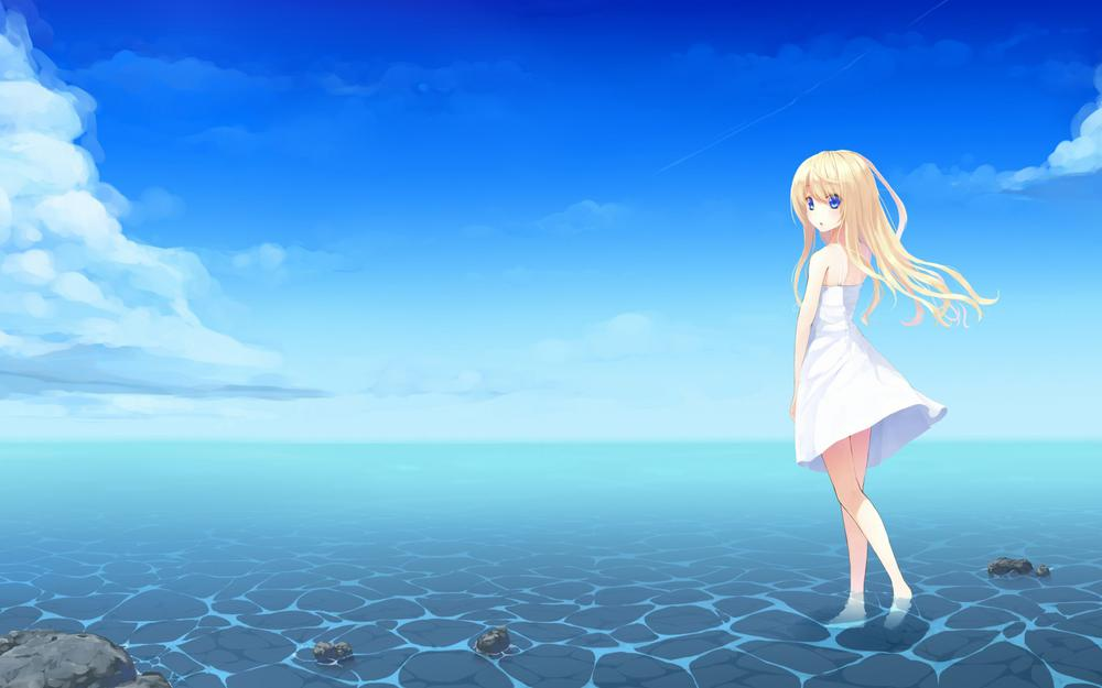 Long-haired girl, small skirt, sea, beach, blue sky, white clouds, small fresh anime wallpaper