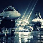 Raf fighters in lights wallpaper