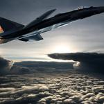 Fighter over the clouds wallpaper