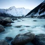 Landscape, winter, ice, mountains, river