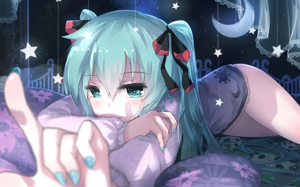 Xianya, girl, hatsune miku, look, smile, moon, stars, curtains, cute anime pictures wallpaper