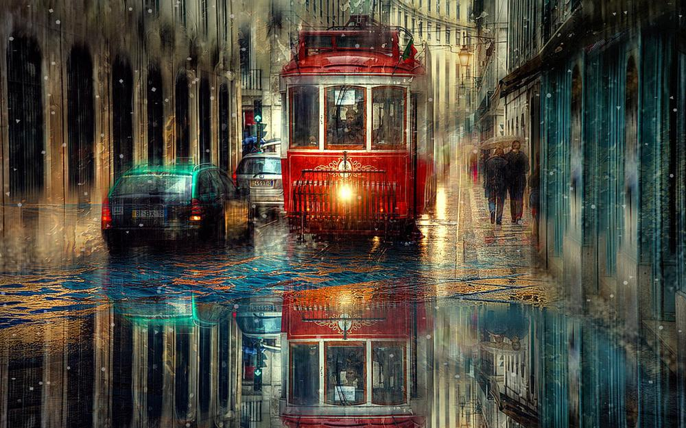 Tram rain machines wallpaper