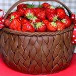 Strawberry, basket, chocolate