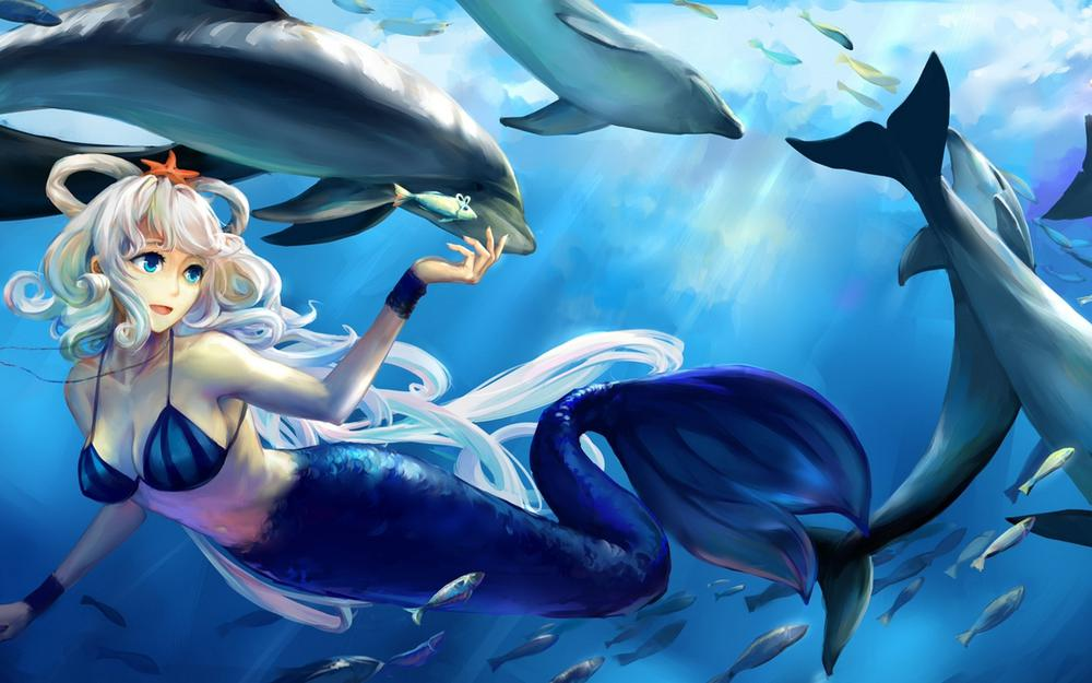 Mermaid, underwater world, dolphin, fish, anime wallpaper