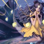 Goddess, wings, angel, moon god, prayer, eyes, anime girls desktop wallpaper