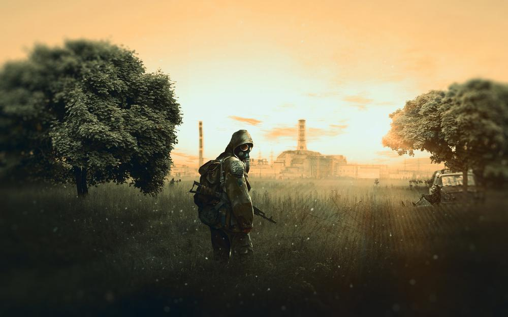 Stalker: shadow of chernobyl, stalker with aks-47 assault rifle, chernobyl nuclear power plant