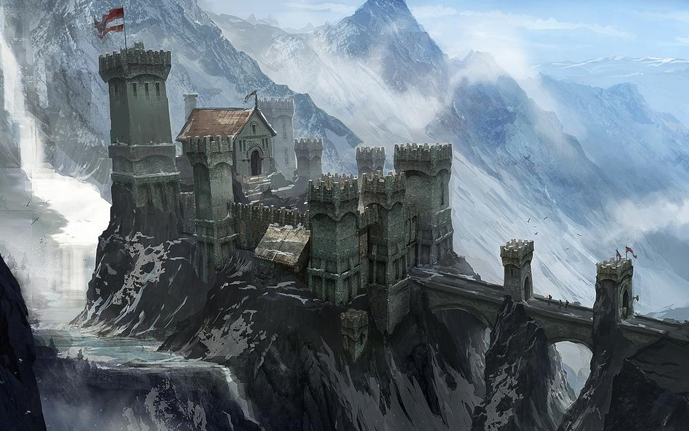 Dragon age 3, fort, inquisition, castle, mountains, bridge, snow, people, concept art