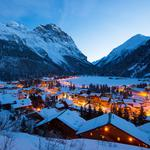 Winter, buildings, houses, roofs, vanoise, lights, evening, france, roads, village, light, mountains, france, vanoise, alps, snow