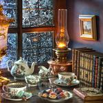 Tea party, books, pictures, glasses, service, window, lamp, tea, style