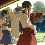 Kyudo field の朝 practice scenery, beautiful girls, beautiful girls, anime scenery desktop wallpaper
