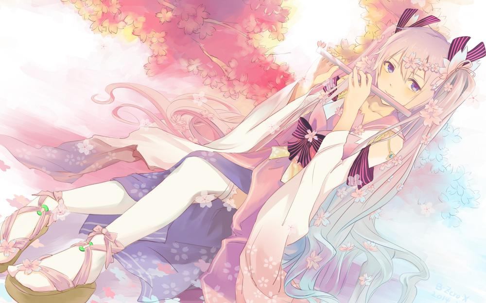 Zerox, vocaloid, hatsune miku, girl, flute, tree pictures, anime theme wallpapers