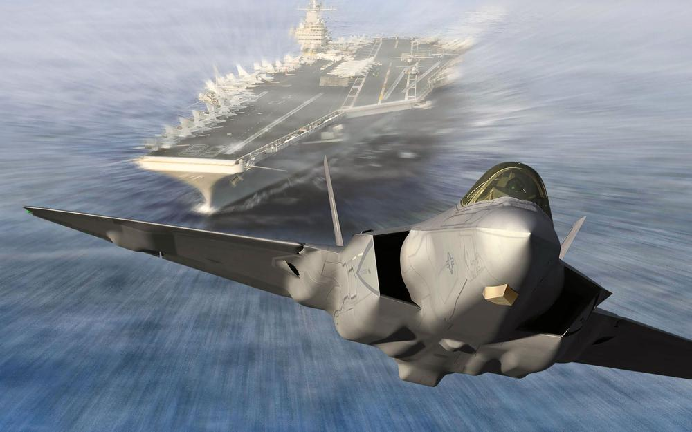 Fighter taking off aircraft carrier