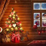 Christmas tree, windows, bonnet, decoration, santa claus, ornaments, hat, christmas