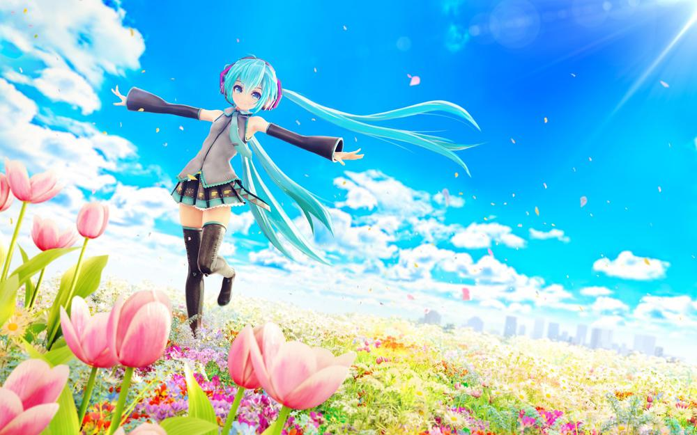 Hatsune miku, vocaloid, sea of flowers, blue sky, anime girl pictures, wallpapers