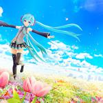 Hatsune miku, vocaloid, sea of ​​flowers, blue sky, anime girl pictures, wallpapers
