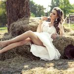 Summer, resting, makeup, brown-haired, lies, dress, hairstyle, mood, in white, legs, hay, in nature