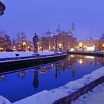 Water, sculpture, sky, snow, evening, winter, architecture, canal, lights, houses, cathedral