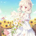 Anime girl, acg, sunflower, beautiful, fresh, summer, wallpapers
