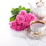 Teapot, cup, flowers