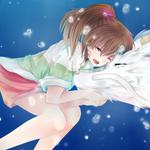 Spirited away, white dragon, love, anime wallpaper