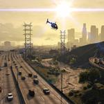 Grand theft auto v, cars, helicopter, gta 5, road, los santos