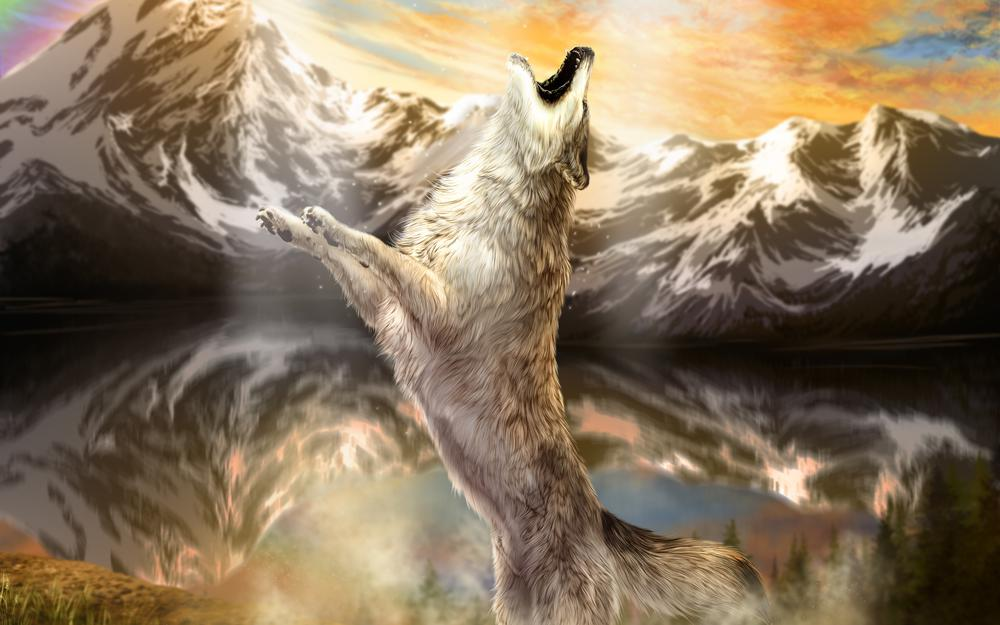Wolf howling mountain water