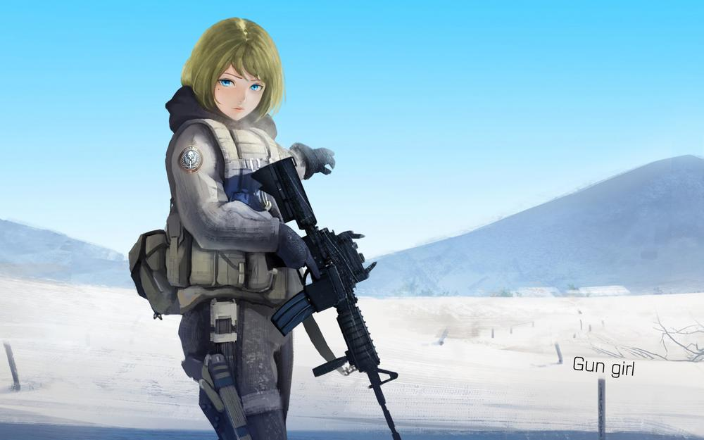 Girl, weapon, snow, mountain, cool, anime wallpaper