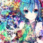 Hatsune miku, cute girl, beautiful big eyes, painting, rendering, anime wallpaper