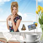 Girl at the table, smile, finger, book, cup, tulips wallpaper