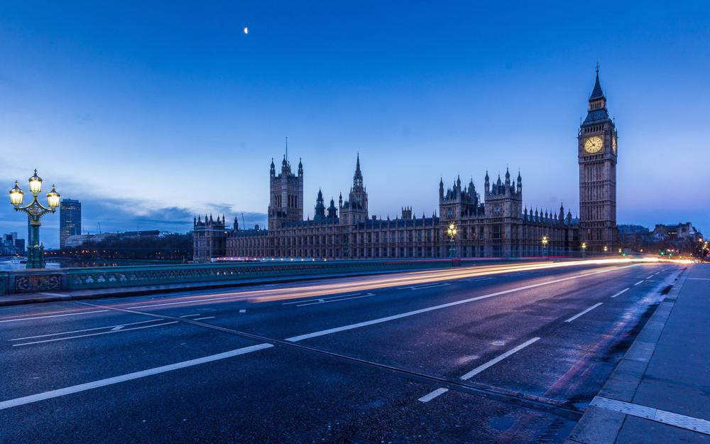 London, city, clock, bridge, lights, road, scenery desktop wallpaper