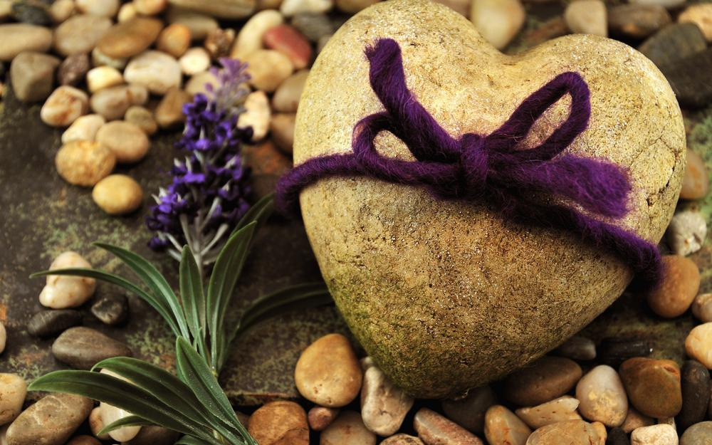 Stone heart, bow, heart, gift, purple, stone