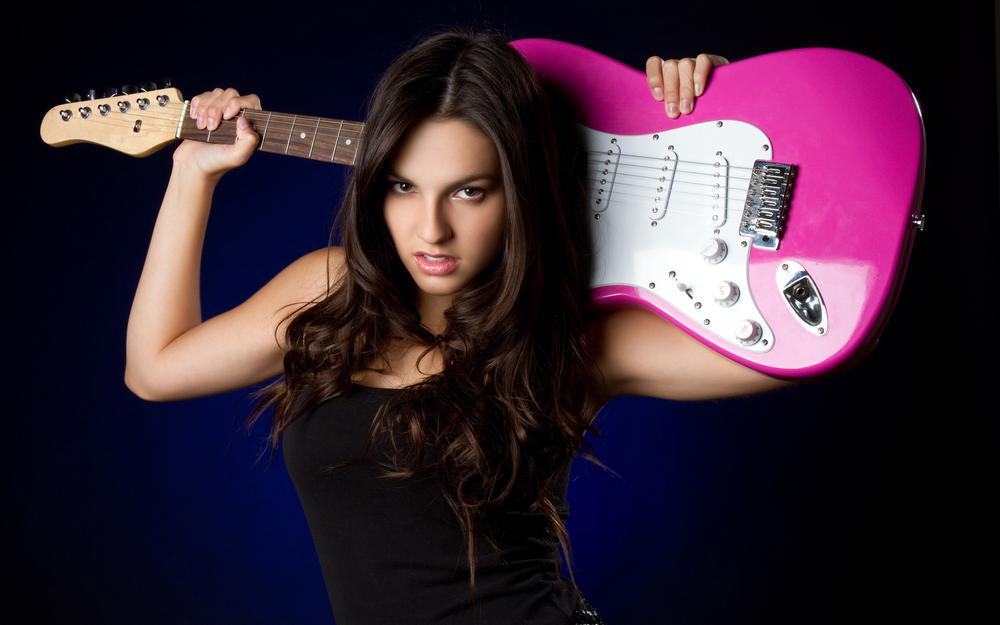 Girl with a guitar desktop background