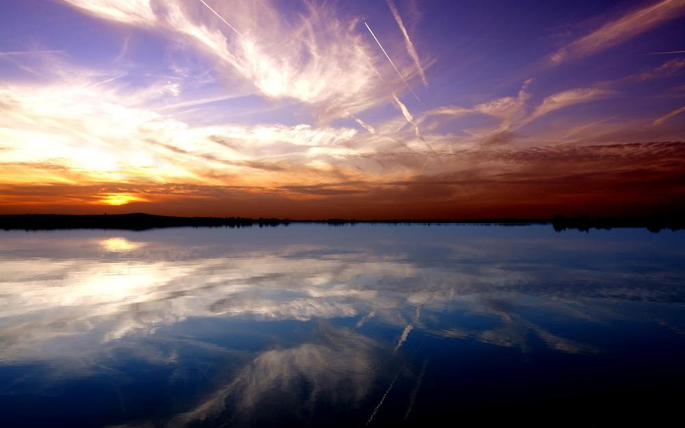 River, sky, water, lake, wallpapers, landscapes, sunset