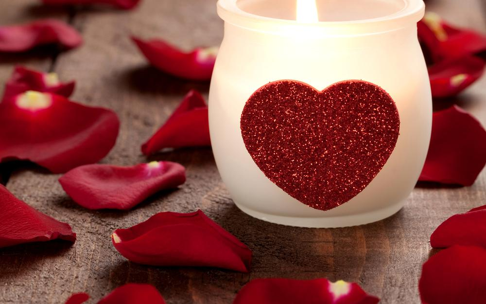 Holiday, petals, candle, heart, valentine's day