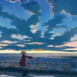 Girl, boy, hat, sky, clouds, romantic scenery anime desktop wallpaper