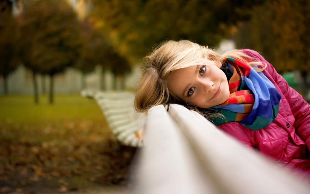 Girl on a bench, face