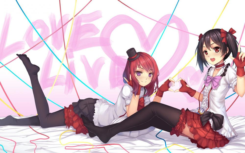 Two girls, beautiful girl with double ponytails, anime wallpaper
