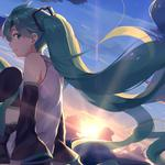 Vocaloid, hatsune miku, girl, long hair, sky, anime wallpaper