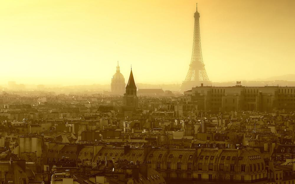 House, city, france, sky, roof, eiffel tower, windows, roof, paris, morning, window, street, country, street