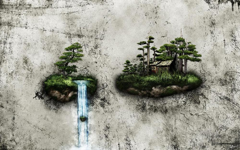 Island with a waterfall