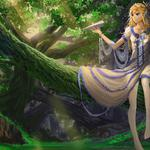 Forest, tree, cute girl, dress, gesture, paper airplane, nice anime desktop wallpaper