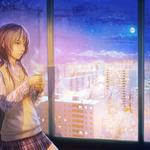 Girl, window, city, snow, beautiful anime wallpaper