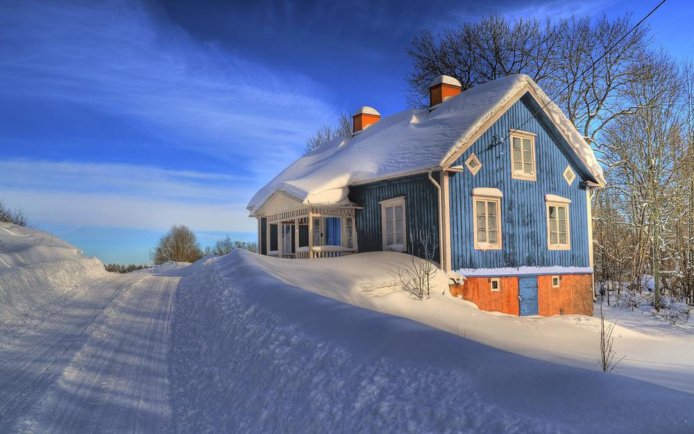 Winter, snow, house, tree, road, sky, landscape wallpaper after snowing