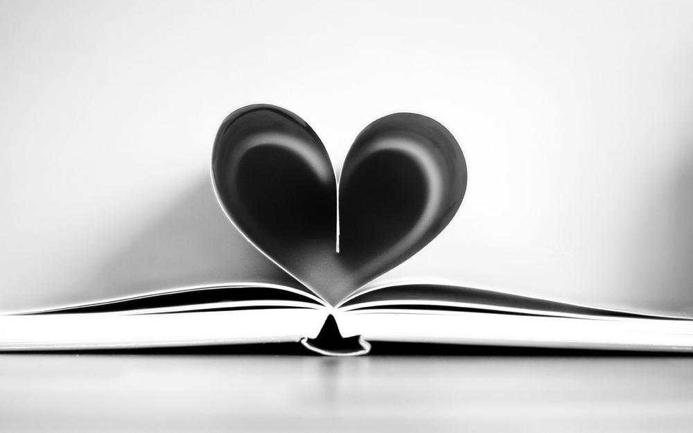 Book, heart, pages, black and white, book