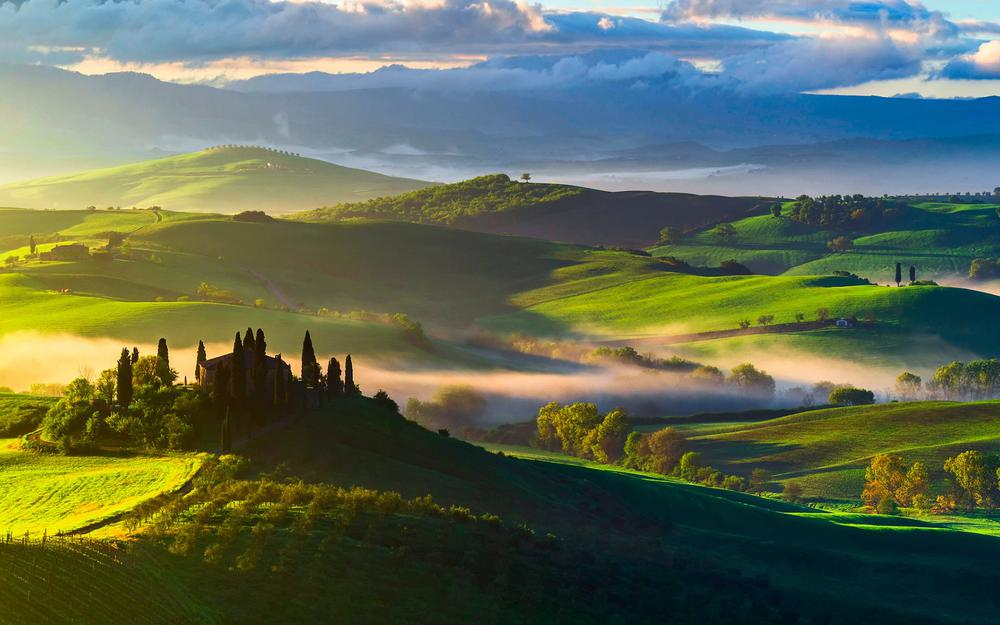 Italy, tuscany, morning, sky, clouds, landscape desktop wallpaper
