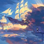 Little boy, puppy, sky, clouds, sailing, beautiful, fantasy, anime wallpaper