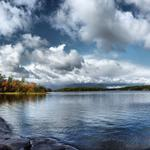 Stones, autumn, trees, river, sky, water, nature. scenery