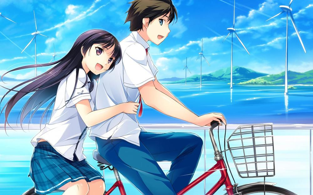 Anime couple, lovers, bicycle, happiness, romance, travel, wallpaper