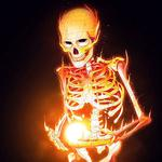 Fire, bones, skeleton