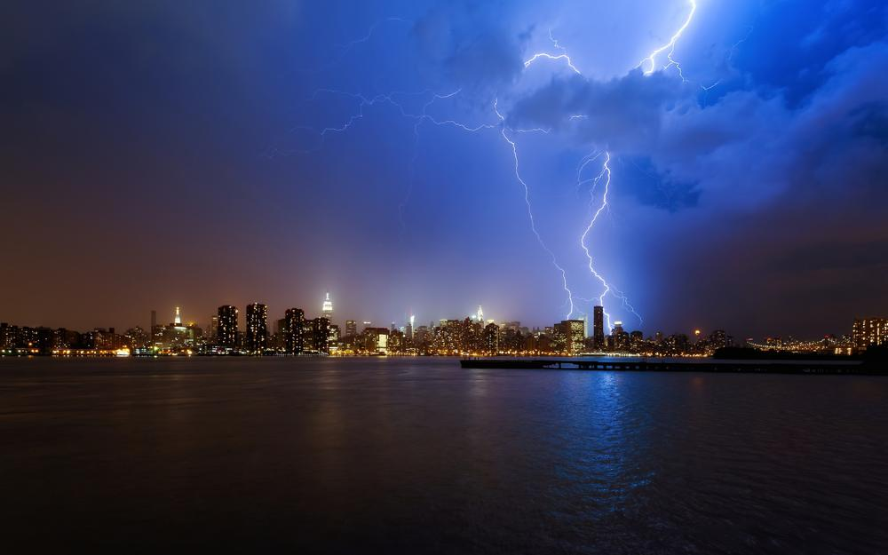 Ocean, new york, storm, night, water, clouds, skyscrapers, city, beautiful pictures of the city lights, lightning, blue sky